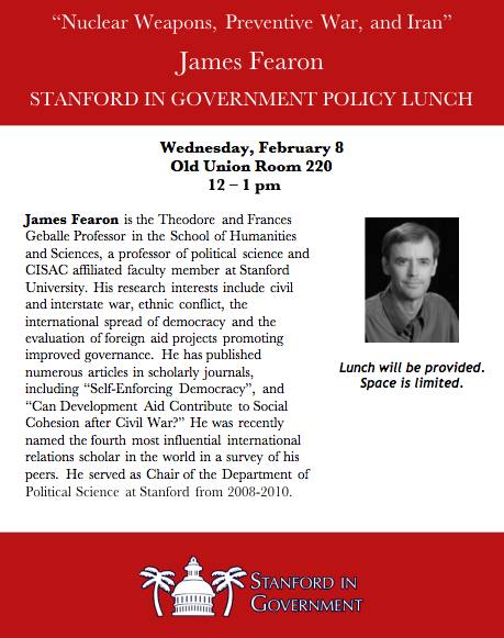 James Fearon Policy Lunch Flyerf