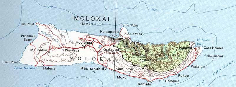 Map Of Molokai Molokai Map Map Of Molokai