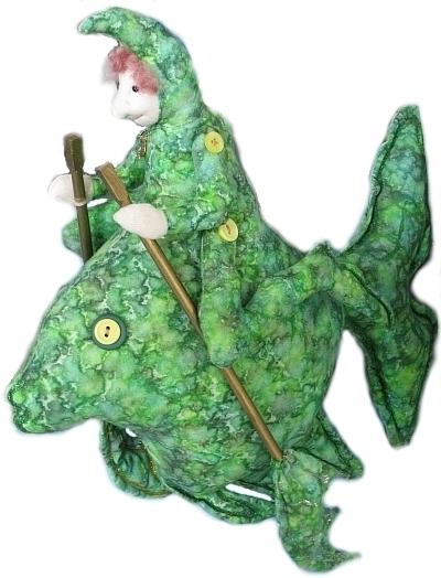 puppet of a man fish mix
