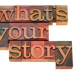 "Building blocks spelling, ""What's your story?"""