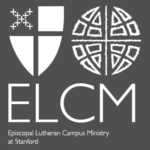 Episcopal Lutheran Campus Ministry logo, white on a gray background