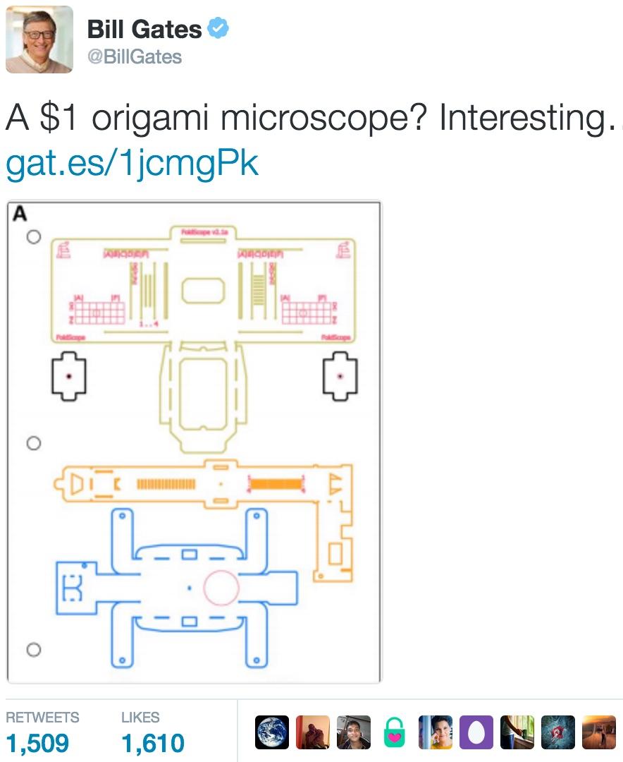 Foldscope Gates Tweet