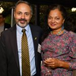 2019 Sam and Aruna at Stanford Radiology Alumni reception, Palo Alto