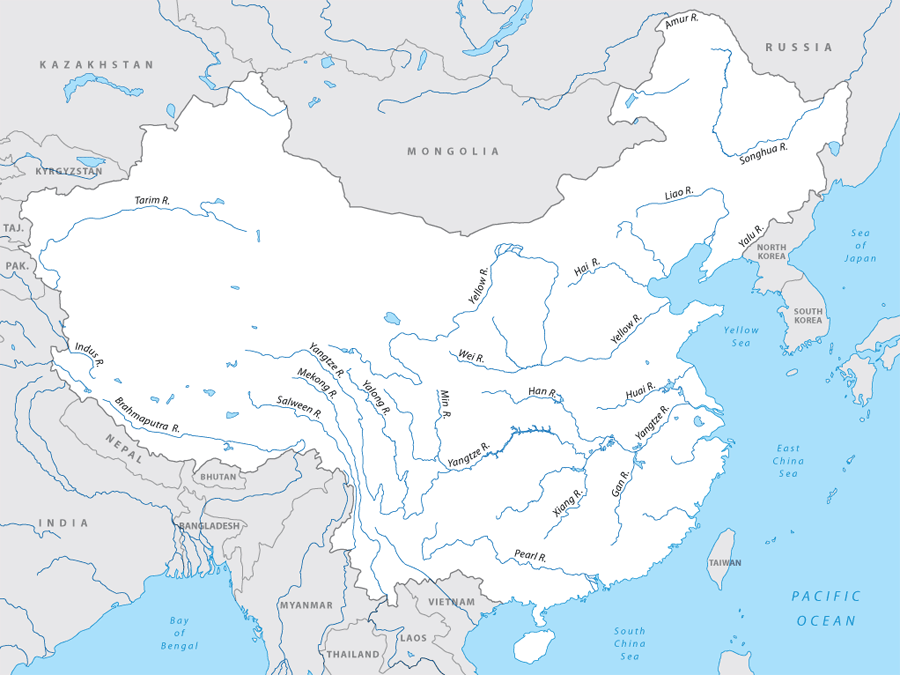 Map Of Asia Rivers And Seas.Welcome To Rivers Of Asia