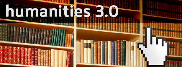 Image with books and caption humanities 3.0