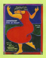 Logo for ladyslipper music: darkhaired woman in red dress, dancing