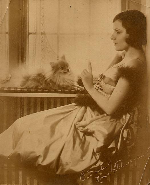 Norma Talmadge with pomeranian dog