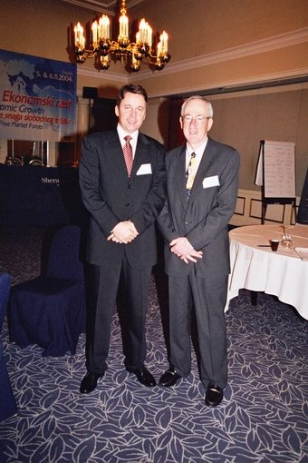 Alvin rabushka with ivan miklos minister of finance of slovakia at the