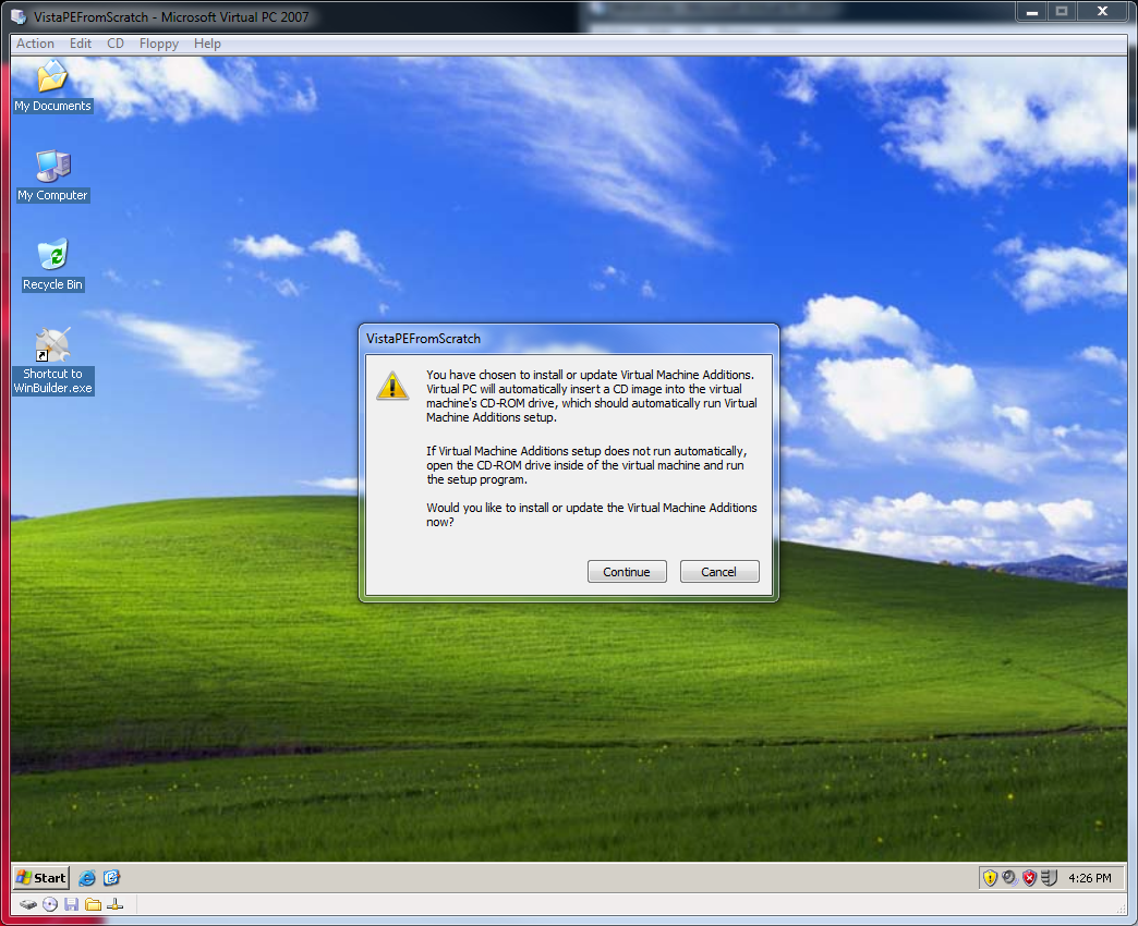 Getting started with virtual pc 2007, part 5: install vm additions.